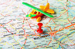Bucuresti ,Romania map airport. Close up of Bucuresti ,Romania map and airplane toy - Travel concept Stock Photo