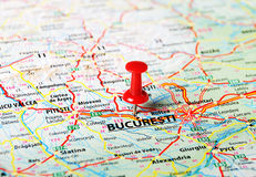 Bucuresti ,Romania map. Close up of Bucuresti,Romania  map with red pin - Travel concept Royalty Free Stock Photo