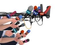 Buczy słup ręki z mics i mikrofony, boczny widok, alfa kanał, 3D ilustracja wektor