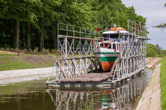 Buczyniec, Buchwalde - The Inclined Planes. The Inclined Planes and carriage in Buczyniec, Buchwalde, Elblag Canal, ships transported over hills, the exceptional Stock Image