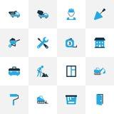 Budów Kolorowe ikony Ustawiać Kolekcja szkło, pracownik, Cementowy pojazd I Inni elementy, Także Zawiera symbole Zdjęcia Stock