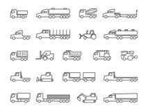 Budów maszyny Ciężarówki, ciągniki, doręczeniowe przyczepy, ładunków trukcs, dumpers i ciężki wyposażenie, wykładają ikony royalty ilustracja