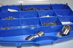 Budów narzędzia - gwoździe, śruby, rygle zdjęcia stock