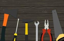 Budów narzędzia na drewnianej teksturze Obrazy Stock