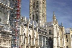 Budów Scaffoldings Dla odświeżania Canterbury katedra obraz royalty free