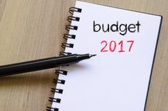 Budżeta teksta 2017 pojęcie na notatniku Zdjęcie Stock