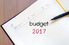 Budżeta teksta 2017 pojęcie na notatniku Obraz Stock