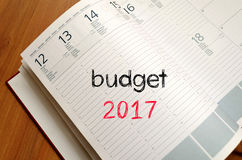 Budżeta teksta 2017 pojęcie na notatniku Obraz Royalty Free