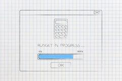Budżetować w toku wystrzału okno z kalkulatora barem i ikoną Zdjęcia Stock