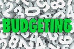 Budżetujący 3d słowo Liczy tło Pieniężny pieniądze plan ilustracji