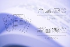 Budżetów dokumenty obok dochód ikon versus koszty below Fotografia Stock