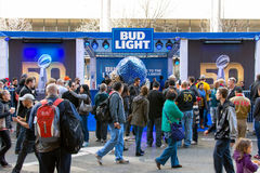 Bud Light Stand at Super Bowl City 50 in San Francisco. royalty free stock image
