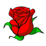 Bud of a red rose. The bud of red rose which have not revealed completely, with green leaflets royalty free illustration
