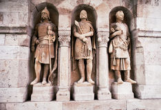 从Buda墙壁的监护人雕象在布达佩斯,匈牙利 图库摄影