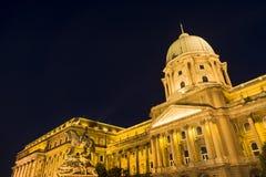 Buda宫殿在晚上,布达佩斯,匈牙利 免版税库存图片