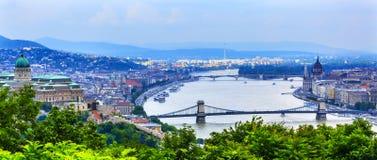 Buda宫殿议会铁锁式桥梁布达佩斯匈牙利 免版税库存照片
