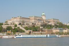 Buda castle. Castle of Buda in Budapest with the river Danube Royalty Free Stock Images