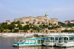 Buda Castle and Boats on Danube River Royalty Free Stock Image