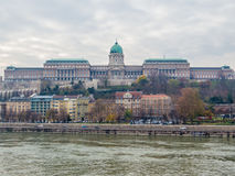 Buda Castle, Budapest. Autumnal view of the Buda Castle from the Danube River stock image