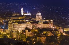 Buda castle in Budapest city, Hungary. Night scene stock photography