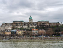The Buda castle in Budapest on a cloudy day Royalty Free Stock Photo