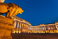 The Buda Castle in Budapest and the History Museum. The inner court of the historic Royal Palace - Buda Castle - History Museum in Budapest - Hungary at night Stock Photos