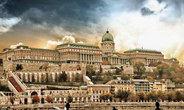 The Buda castle in Budapest, Hungary. Building stock photo