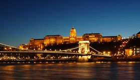Buda Castle, Budapest, Hungary at night Stock Photography