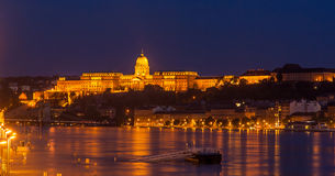 Buda Castle in Budapest, Hungary. Buda Castle (Royal Palace) by the Danube river illuminated at night in Budapest, Hungary Stock Photography