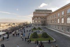 Buda Castle. Budapest, Hungary - 12 29 2018: Tourists and visitors at the Buda castle in Budapest, Hungary stock image