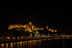 Buda Castle. Night scene landscape of Buda Castle, Halaszbastya, and Mátyás Church Royalty Free Stock Photos