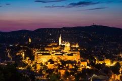 Buda Castle Budapest skymningsikt Royaltyfria Bilder