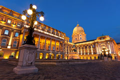 The Buda Castle in Budapest with a streetlight stock photo