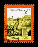 Buda Castle cable railway reopening, Events serie, circa 1986. MOSCOW, RUSSIA - NOVEMBER 26, 2017: A stamp printed in Hungary shows Buda Castle cable railway stock image