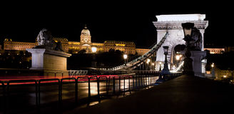 Buda Castle and Chain Bridge. Budapest, Hungary Stock Photo