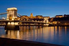 Buda Castle and Chain Bridge, Budapest, Hungary Stock Photos