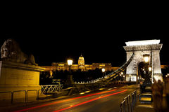Buda castle and chain bridge in budapest in the ni Stock Images