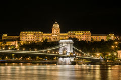 Buda Castle and Chain Bridge in Budapest Stock Photos
