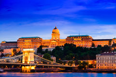 Buda Castle and Chain Bridge. Night scene of Buda Castle and Chain Bridge. Budapest, Hungary Stock Images