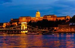 Buda Castle and Chain Bridge. Night scene of Buda Castle and Chain Bridge. Budapest, Hungary royalty free stock photos