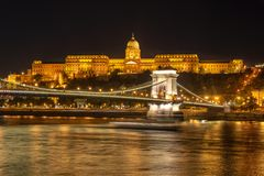 Buda castle and Chain bridgein Budapest at night Hungary. Buda castle and Chain bridgein Budapest at night, Hungary stock photography