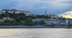 The Buda Castle on the Danube river bank with the St Matthias Church in the background royalty free stock photos