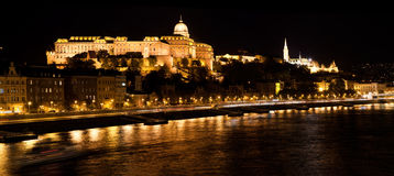 Buda Castle by Danube river. Budapest, Hungary Stock Photos