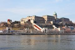 Buda Castle and the Danube river. Magnificent Buda Castle seen from Pest, across Danube River, Budapest, Hungary, Europe royalty free stock photo