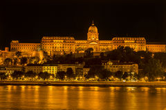 Buda Castle Danube River Night Budapest Hungary Royalty Free Stock Images