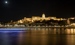 Buda Castle by Danube river at night. Budapest, Hungary. Royalty Free Stock Photos