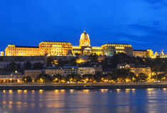 Buda Castle and Danube river at night Royalty Free Stock Photo