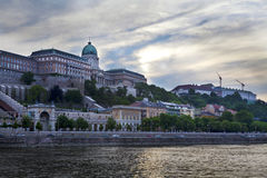 Buda castle on Danube. View of Buda Castle across the Danube river in Budapest, Hungary at sunset Stock Photography
