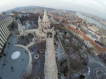 Buda castle district. Part of Buda castle district seen from mid-air Stock Image