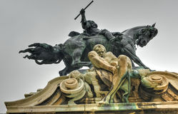 Buda Castle e la statua di principe Eugene della Savoia Fotografia Stock